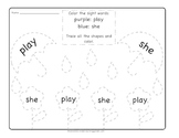 April Play and She Sight Word Coloring Sheet