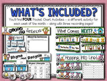 April Pocket Charts --- Four Math and Literacy Pocket Charts for April