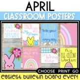 April Posters Easter Bulletin Board Monthly Boho Rainbow P