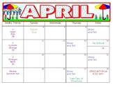 April Preschool Calendar