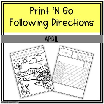 April Print 'N Go Following Directions Packet