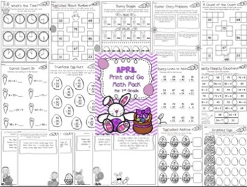 April Print and Go Math Pack for First Grade