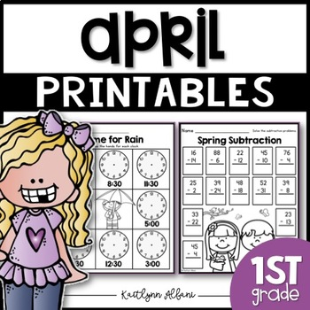 April Printables - Math and Literacy Packet for First Grad
