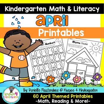 April NO PREP - Math & Literacy Printables (Kindergarten)