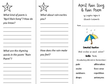 April Rain Song Trifold - Wonders 2nd Grade Unit 4 Week 5