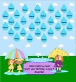 April Raindrop Attendance Interactive Smartboard Morning