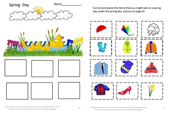 Spring Math and Literacy Cut and Paste  Activities No Prep