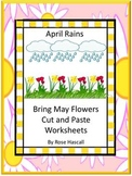 Kindergarten Spring Math and Literacy Cut and Paste Worksheets Special Education