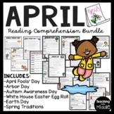 April Reading Comprehension Informational Text Worksheet Bundle Spring