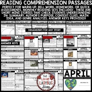 April Reading Comprehension Passages 4th Grade, 3rd Grade & 5th Grade