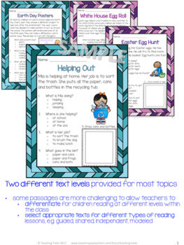 April Reading Comprehension Passages and Questions