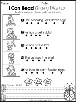 April Reading Fluency Phrases