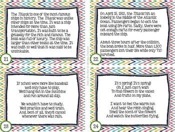 April Reading Fluency Task Cards