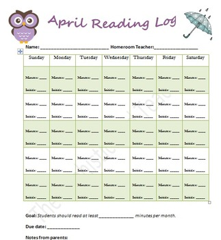 April Reading Log