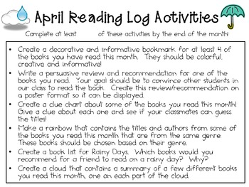April Reading Log Packet for Intermediate Students