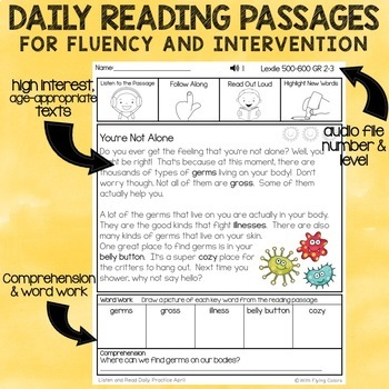 April Reading Passages with Audio for Fluency and Intervention