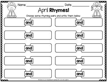 April Rhyming Activities