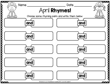 April Rhyming Activities
