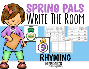 April Rhyming Write the Room Fun -Differentiated and Aligned