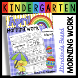 Kindergarten Morning Work - April - Homework - CCSS Aligned