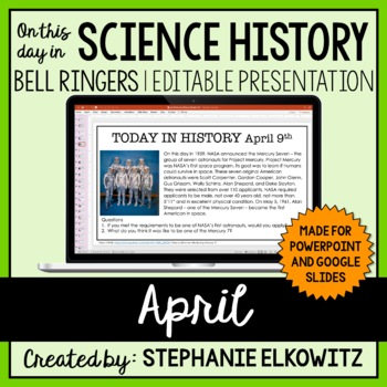 April Science History Bell Ringers (Paperless & Editable)