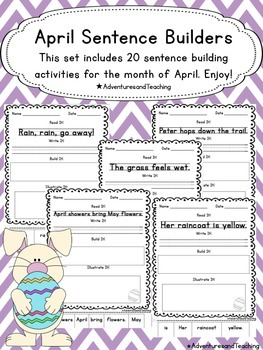 April Sentence Builders {morning work, word work, daily 5, & centers}