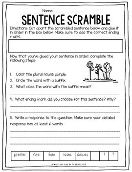 April Sentence Scrambles {Interactive}