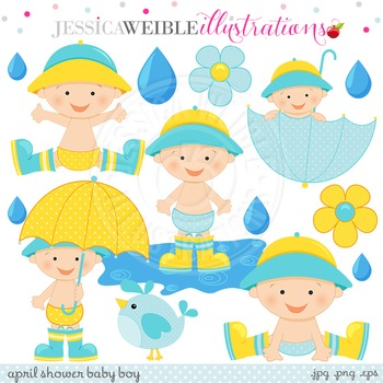 April Shower Baby Boy Cute Digital Clipart, Baby Boy Umbrella Clip Art