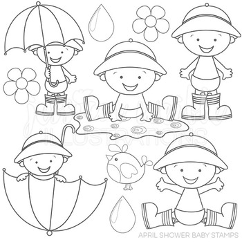 April Shower Baby Boys Cute Digital B&W Stamps, Rain Day Line Art, Blackline