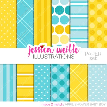 April Shower Boy Matching Digital Papers, Blue Yellow Papers