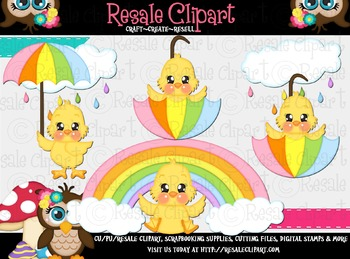 April Shower Chicks 1 ClipArt - Commercial Use