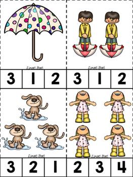 April Showers ABC's & 123's Clip Cards {NO DITTOS}
