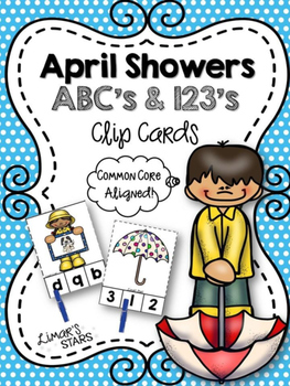 April Showers ABC's & 123's Clip Cards {NO DITTOS}