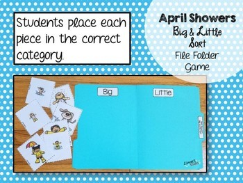 April Showers Big Little Sort File Folder Game