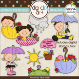 April Showers Bring May Flowers 1 -  Digi Clip Art/Digital Stamps - CU Clip Art
