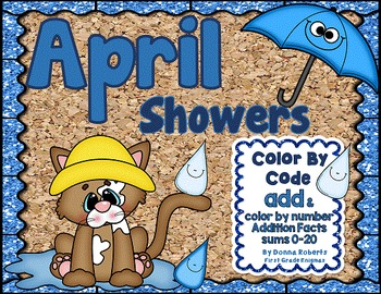 April Showers Color By Code  Addition sums 0-20