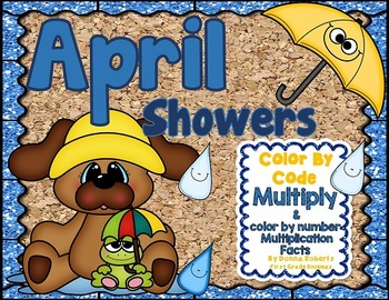 April Showers Color By Code color by number Multiplication Facts