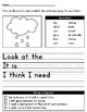 April Showers Differentiated Writing Worksheets for Special Education / Autism