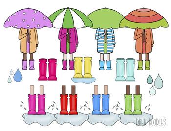 April Showers Digital Clip Art Set