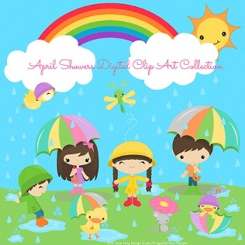 April Showers Digital clip art set