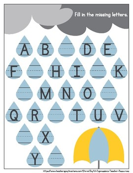 April Showers Fill in the Missing Letters for PK, K or SPE