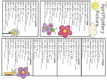 April Showers Hundreds Chart Mystery Picture Place Value