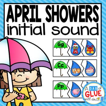 April Showers Initial Sound Match-Up Puzzles
