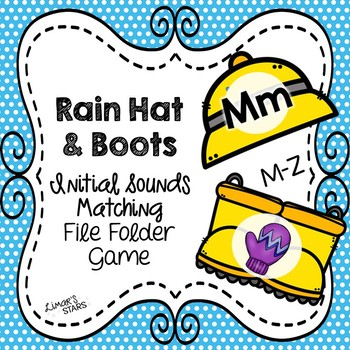 April Showers Letter to Initial Sound File Folder Game M-Z