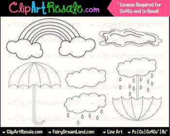 April Showers LineArt - Black & White