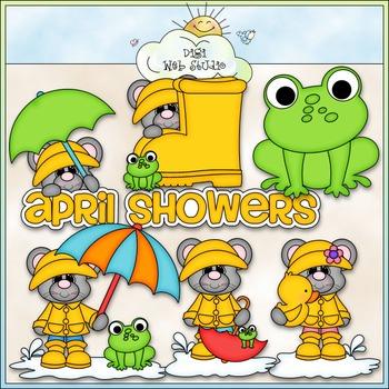 April Showers Mice Clip Art - Rainy Day Clip Art - CU Clip