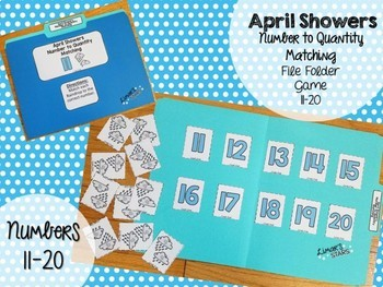 April Showers Number to Quantity File Folder Game 11-20