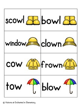 April Showers Phonics: Vowel Digraphs and Diphthongs Pack 1: ow, ou, oo, ew
