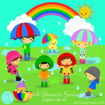 April Showers Series 2 Digital clip art set