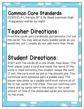 April Showers Sight Words! Fry List 2